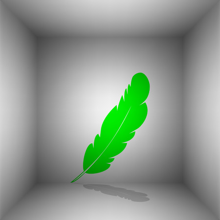 Feather sign illustration. Vector. Green icon with shadow in the room.