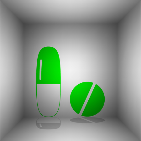 Medical pills sign. Vector. Green icon with shadow in the room.