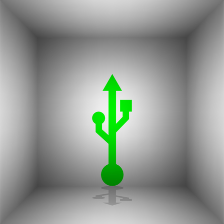 connectors: USB sign illustration. Vector. Green icon with shadow in the room.