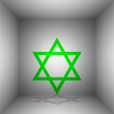 yiddish: Shield Magen David Star. Symbol of Israel. Vector. Green icon with shadow in the room.