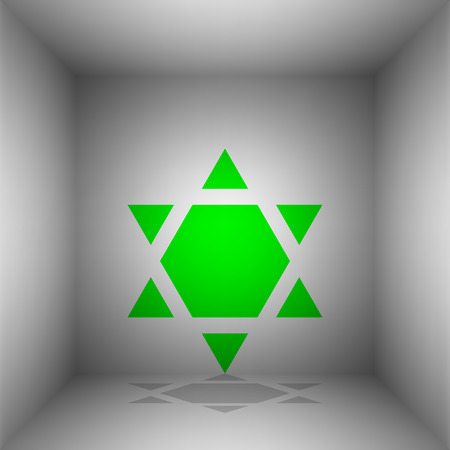 chanukkah: Shield Magen David Star Inverse. Symbol of Israel inverted. Vector. Green icon with shadow in the room.