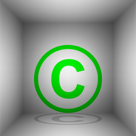 Copyright sign illustration. Vector. Green icon with shadow in the room. Illustration