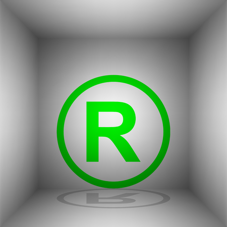 Registered Trademark sign. Vector. Green icon with shadow in the room.