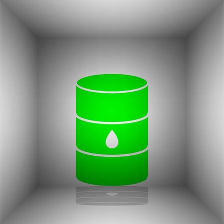 oil and gas industry: Oil barrel sign. Vector. Green icon with shadow in the room. Illustration