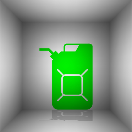 Jerrycan oil sign. Jerry can oil sign. Vector. Green icon with shadow in the room.