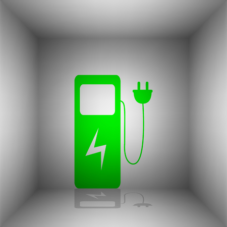 Electric car charging station sign. Vector. Green icon with shadow in the room.