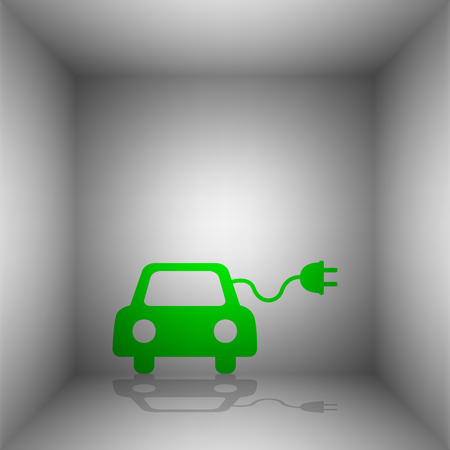 echnology: Eco electric car sign. Vector. Green icon with shadow in the room.
