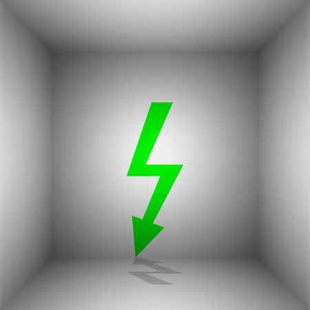 volte: High voltage danger sign. Vector. Green icon with shadow in the room.