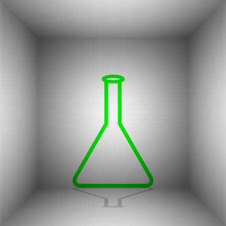 Signo de frasco cónico. Vector. Icono verde con sombra en la habitación.