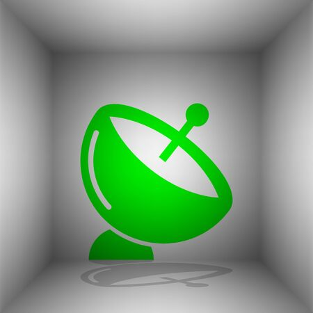 space antenna: Satellite dish sign. Vector. Green icon with shadow in the room.