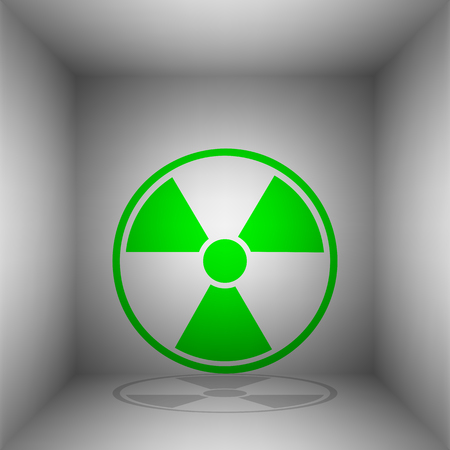 Radiation Round sign. Vector. Green icon with shadow in the room.