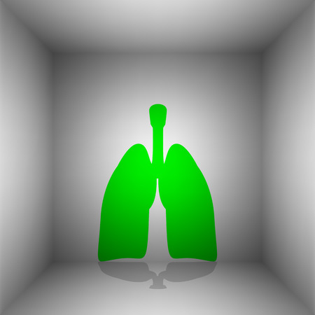 Human organs Lungs sign. Vector. Green icon with shadow in the room.