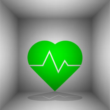 Heartbeat sign illustration. Vector. Green icon with shadow in the room.