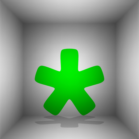 reference point: Asterisk star sign. Vector. Green icon with shadow in the room.