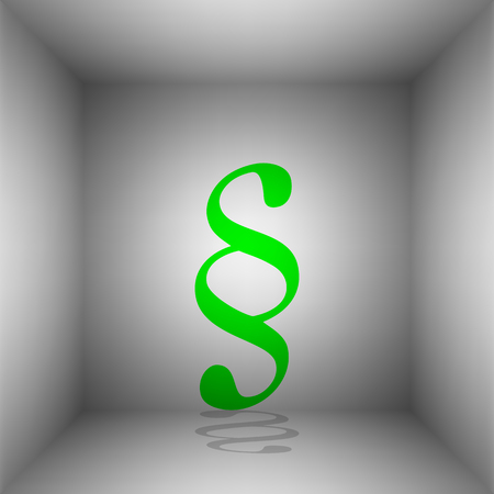 Paragraph sign illustration. Vector. Green icon with shadow in the room. Ilustração