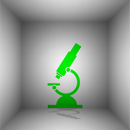 Chemistry microscope sign for laboratory. Vector. Green icon with shadow in the room. Illustration