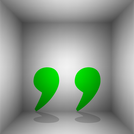 Quote sign illustration. Vector. Green icon with shadow in the room.
