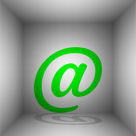 Mail sign illustration. Vector. Green icon with shadow in the room.