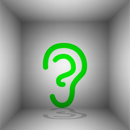 Signo del oído humano. Vector. Icono verde con sombra en la habitación. Foto de archivo - 74394580