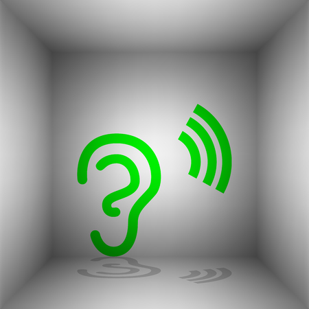 Human ear sign. Vector. Green icon with shadow in the room.