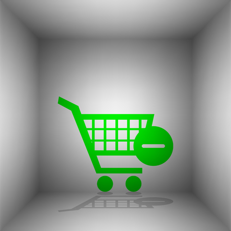 Vector Shopping Cart with Remove sign. Vector. Green icon with shadow in the room.