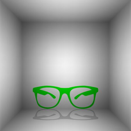 Sunglasses sign illustration. Vector. Green icon with shadow in the room.