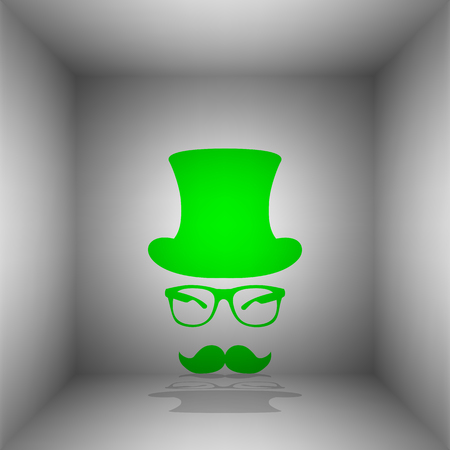 gent: Hipster accessories design. Vector. Green icon with shadow in the room.