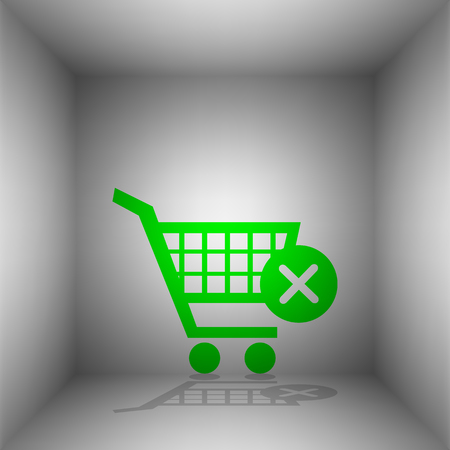 Shopping Cart with delete sign. Vector. Green icon with shadow in the room. Illustration