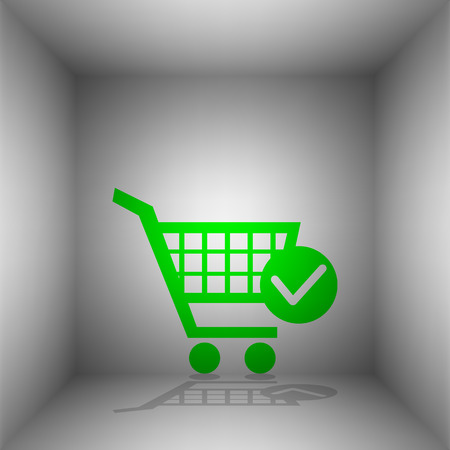 Shopping Cart with Check Mark sign. Vector. Green icon with shadow in the room.