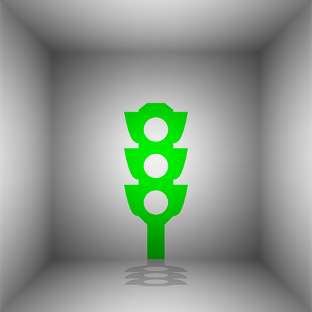 Traffic light sign. Vector. Green icon with shadow in the room.