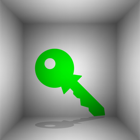 Key sign illustration. Vector. Green icon with shadow in the room. Illustration