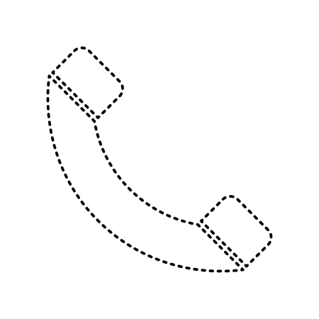 Phone sign illustration. Vector. Black dashed icon on white background. Isolated.
