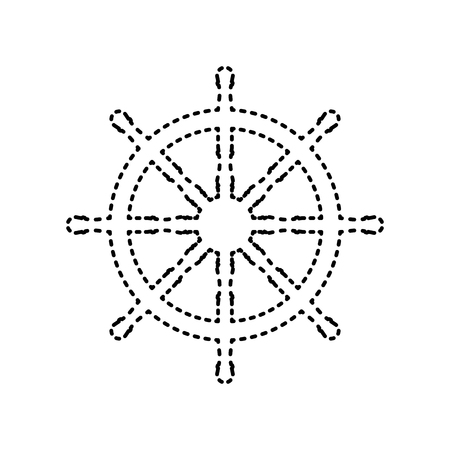 command: Ship wheel sign. Vector. Black dashed icon on white background. Isolated.