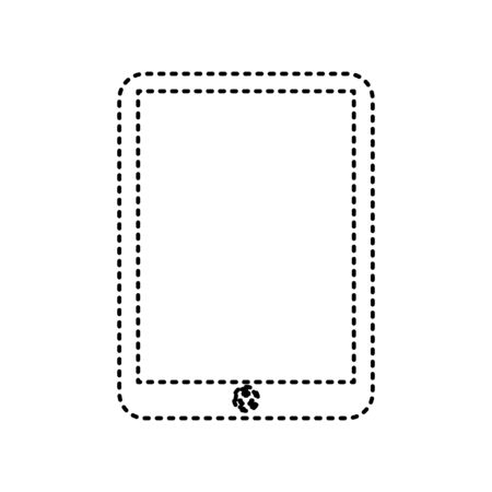 note pad: Computer tablet sign. Vector. Black dashed icon on white background. Isolated. Illustration