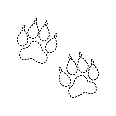 Animal Tracks sign. Vector. Black dashed icon on white background. Isolated. Illustration