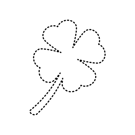 Leaf clover sign. Vector. Black dashed icon on white background. Isolated.