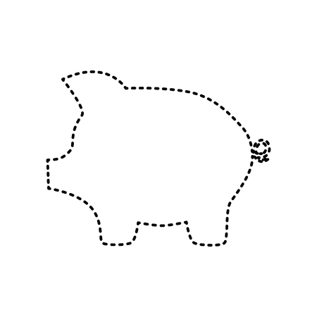 Pig money bank sign. Vector. Black dashed icon on white background. Isolated.