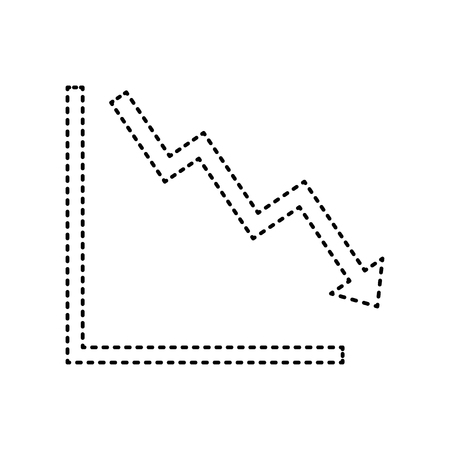 Arrow pointing downwards showing crisis. Vector. Black dashed icon on white background. Isolated.