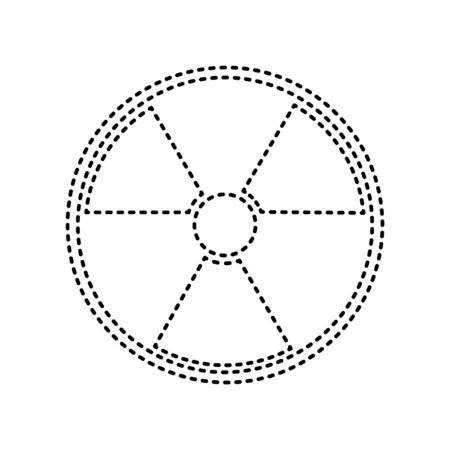 Radiation Round sign. Vector. Black dashed icon on white background. Isolated.