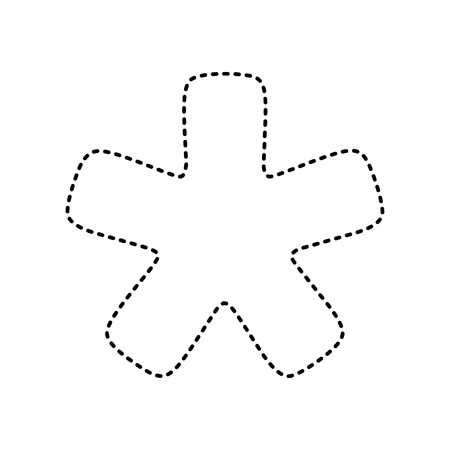 reference point: Asterisk star sign. Vector. Black dashed icon on white background. Isolated.