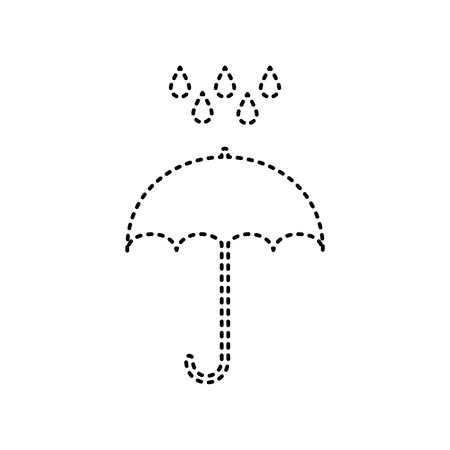 Umbrella with water drops. Rain protection symbol. Flat design style. Vector. Black dashed icon on white background.