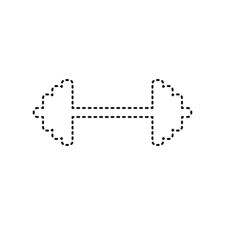 Dumbbell weights sign. Vector. Black dashed icon on white background. Isolated.