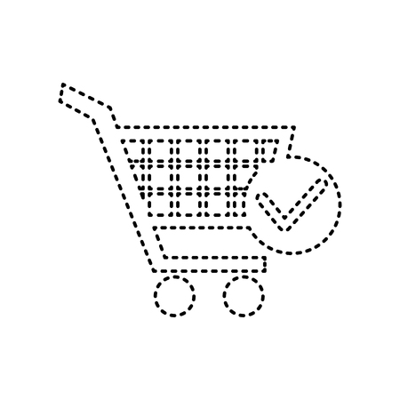 Shopping Cart with Check Mark sign. Vector. Black dashed icon on white background. Isolated.