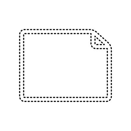 note pad: Horisontal document sign illustration. Vector. Black dashed icon on white background. Isolated. Illustration