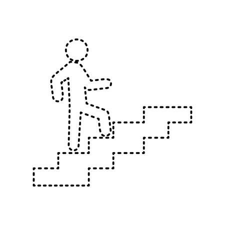 Homme sur les escaliers en remontant. Vecteur. Icône en pointillé noir sur fond blanc. Isolé. Banque d'images - 74488894