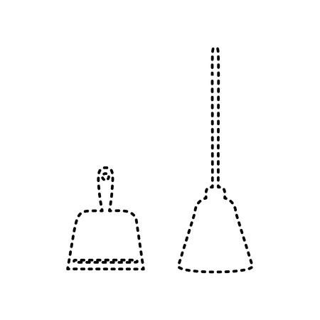 whisk broom: Dustpan vector sign. Scoop for cleaning garbage housework dustpan equipment. Vector. Black dashed icon on white background. Isolated.