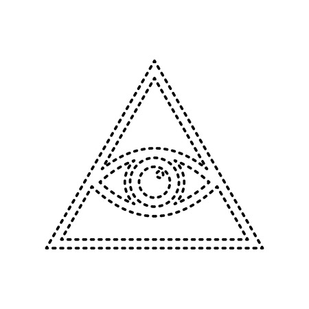 new world order: All seeing eye pyramid symbol. Freemason and spiritual. Vector. Black dashed icon on white background. Isolated.