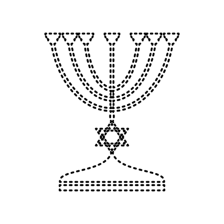 menora: Jewish Menorah candlestick in black silhouette. Vector. Black dashed icon on white background. Isolated.