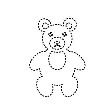 Teddy bear sign illustration. Vector. Black dashed icon on white background. Isolated. Illustration
