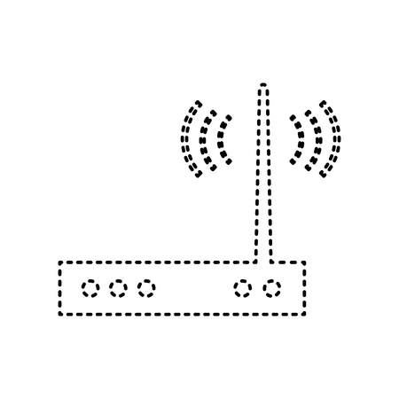 Wifi modem sign. Vector. Black dashed icon on white background. Isolated.